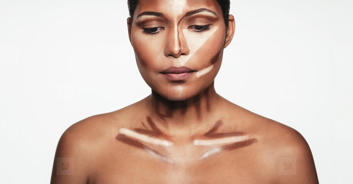 Woman with contour and highlight makeup