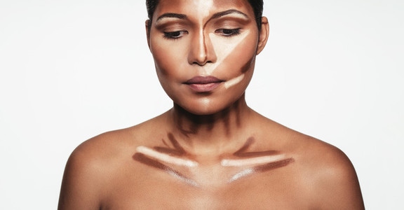 Woman with contour and highlight makeup
