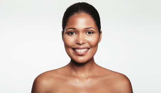 Happy young female with natural makeup