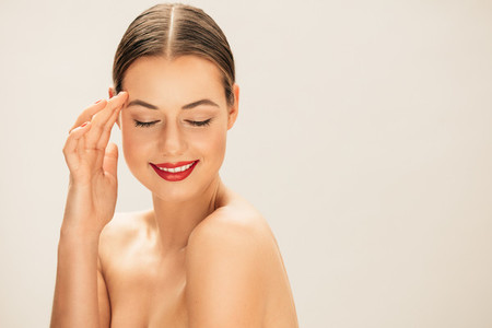 Caucasian female model with clean skin