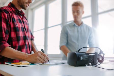 Developers testing virtual reality glasses