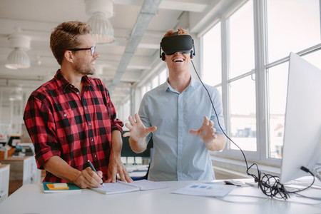 Young developers testing new virtual reality device