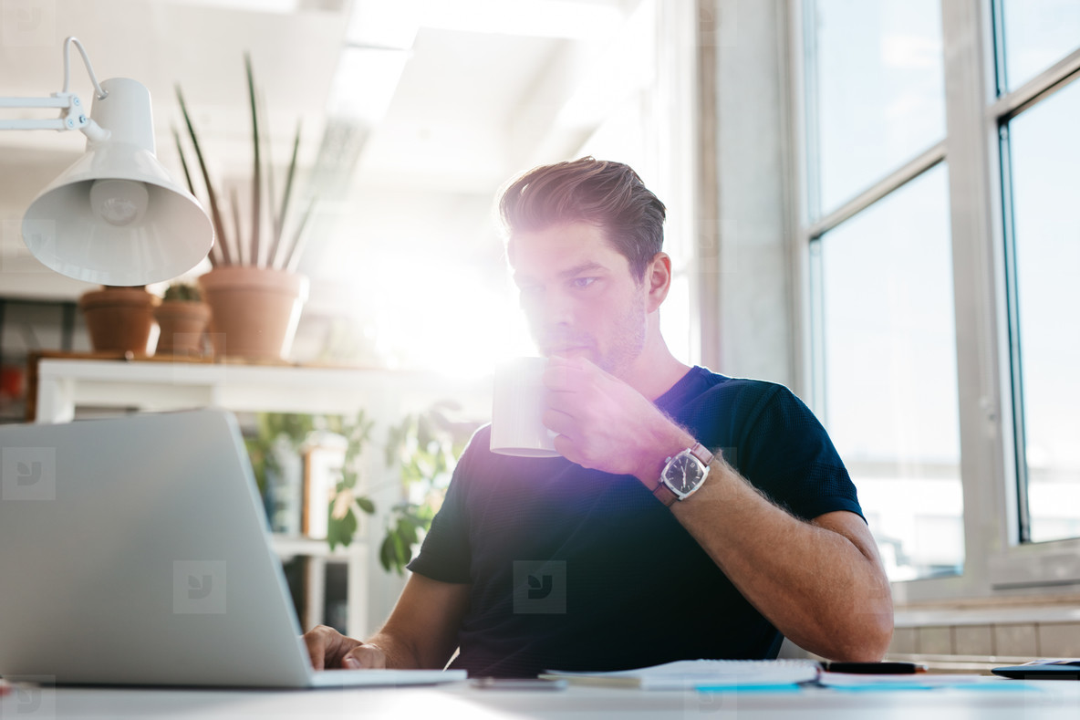 Young businessman drinking coffee and looking at laptop