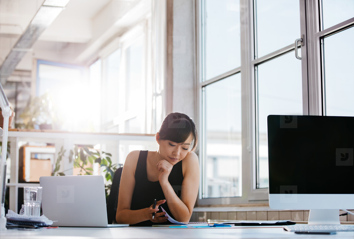 Businesswoman working in modern office