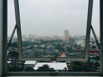 City view through a window rainy