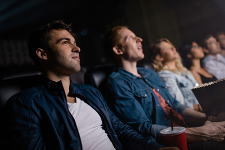 Group of people in multiplex theater