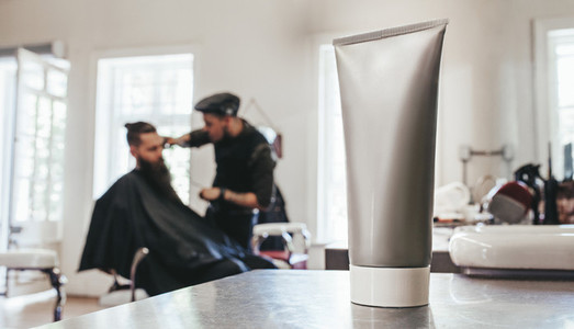 Shaving cream tube barbershop counter
