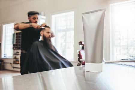 Shaving cream tube at salon
