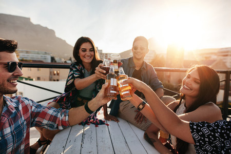 Friends toasting drinks at rooftop party
