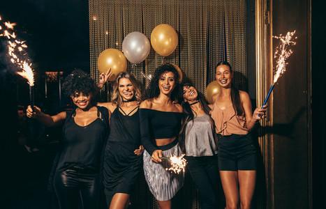 Girls celebrating new years eve at the nightclub