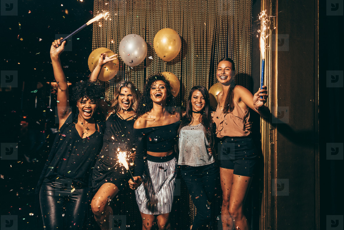 Group of women having party at nightclub