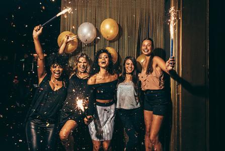 Group of women having party at nightclub