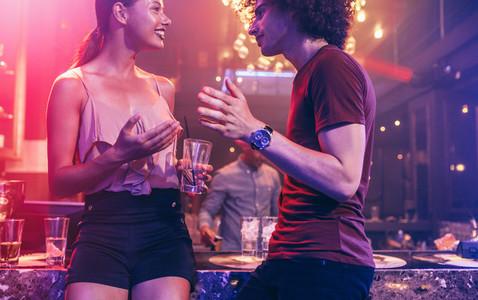 Young couple enjoying at a nightclub