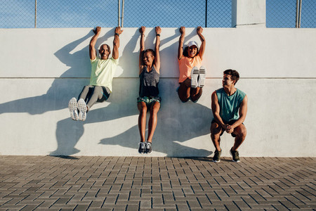 People having fun during workout session outdoors
