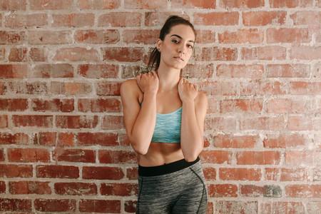 Portrait of female fitness model