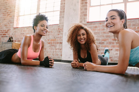 Young women exercising in fitness class
