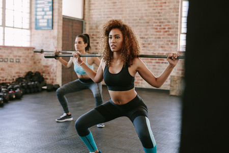 Females working out in gym with barbell
