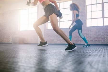 Women exercising in healthclub