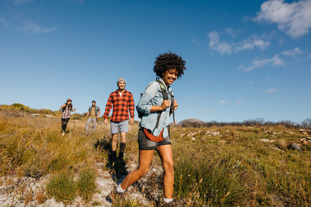 Group of young people on a hike
