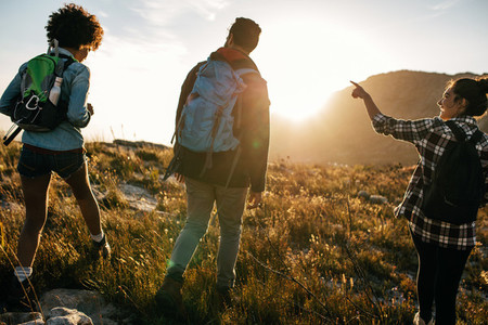 Young people on countryside hiking
