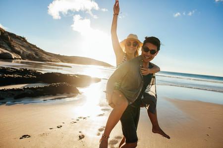 Couple enjoying beach holidays