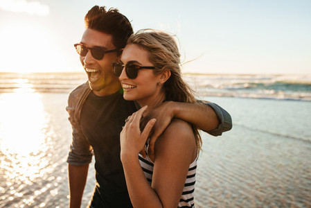 Beautiful young couple on beach vacation
