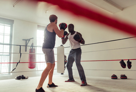 Trainer with boxing student practicing in ring