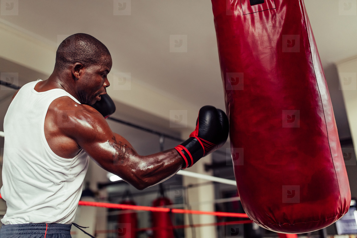 Powerful African boxer landing a punch