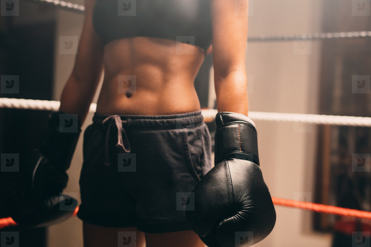 View of firm stomach muscles on boxer