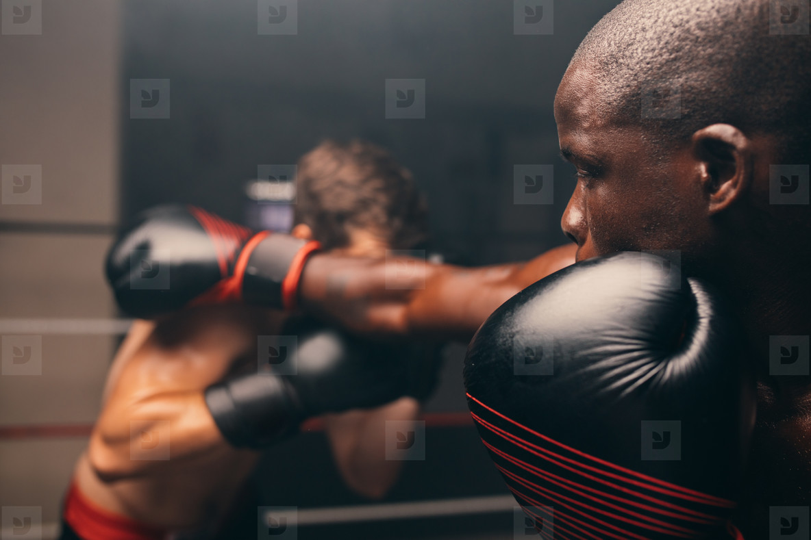 In focus view of boxer missing a punch