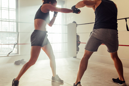 Male and female boxers train in fighting ring