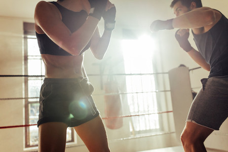Male boxer trains with muscular woman in shorts