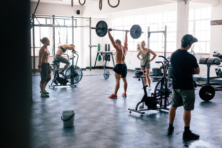 Fitness people doing cross training in gym