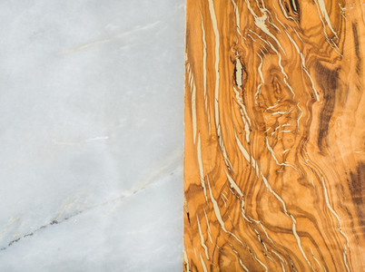 Grey marble stone and olive wood rustic combined background