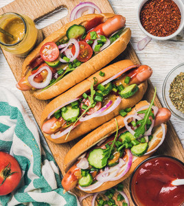Homemade hot dogs with vegetables  ketchup  mustard and spices