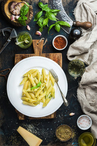 Penne with pesto sauce parmesan cheese fresh basil and spices