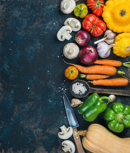Fall harvest vegetable ingredients for healthy cooking  copy space