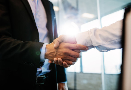 Successful businessmen handshaking after good deal