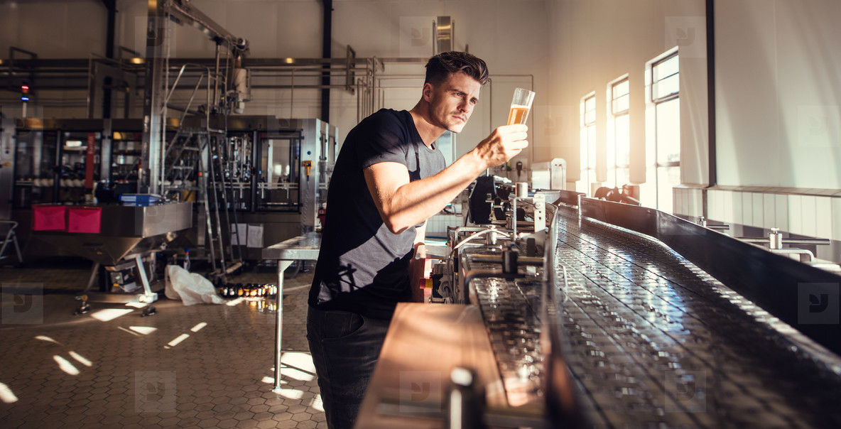 Brewery factory owner examining the quality of craft beer