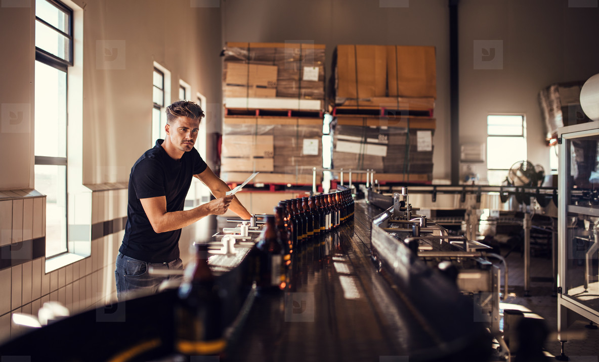 Brewer supervising the process of beer manufacturing
