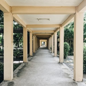 Along view of the walking path