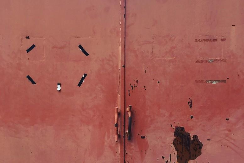 Red Old Metal Door