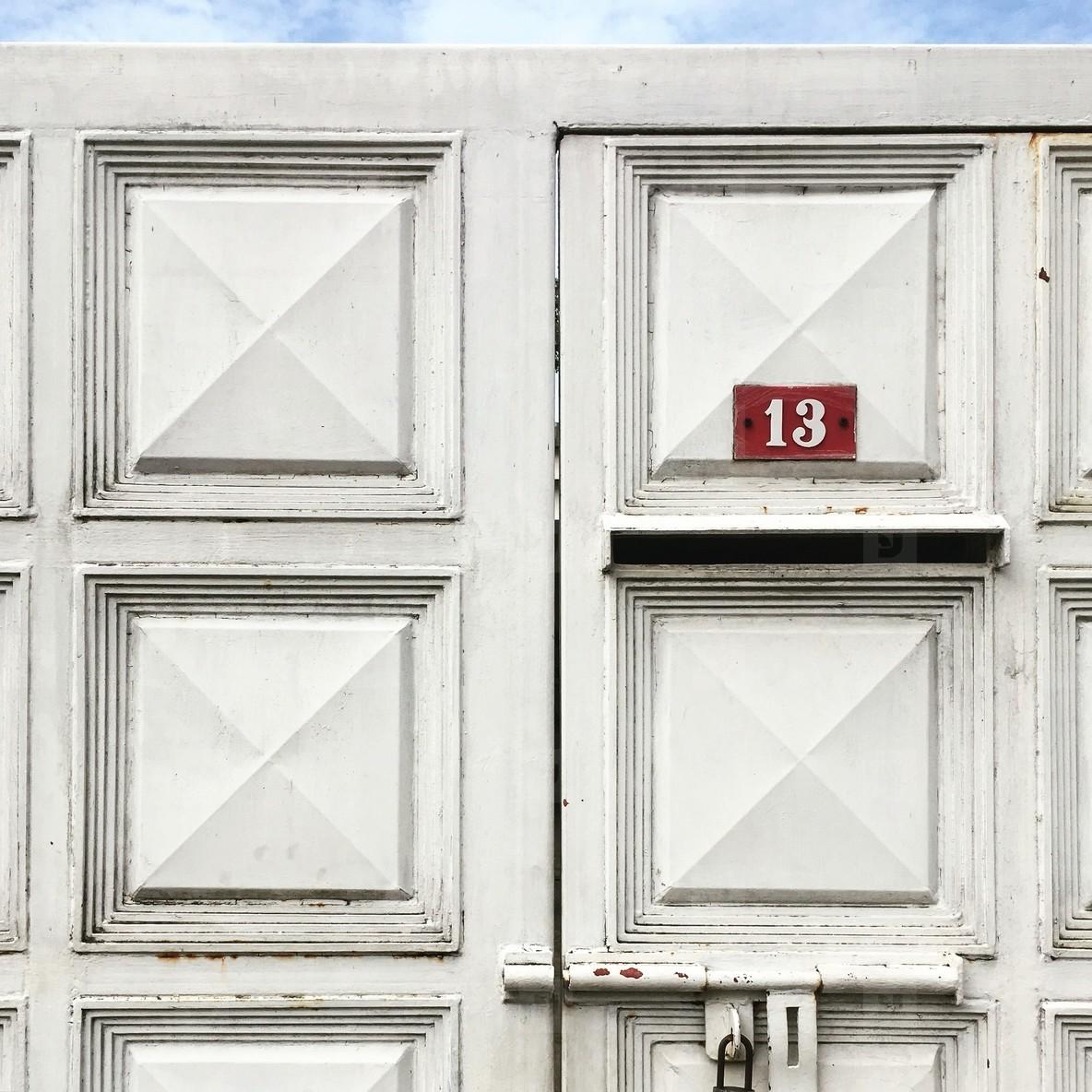 Old Wooden White Door
