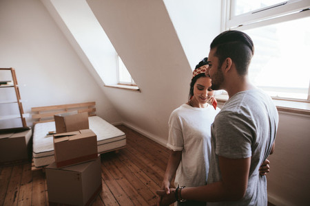 Loving couple during moving home