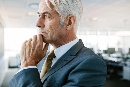 Senior entrepreneur looking pensive in office