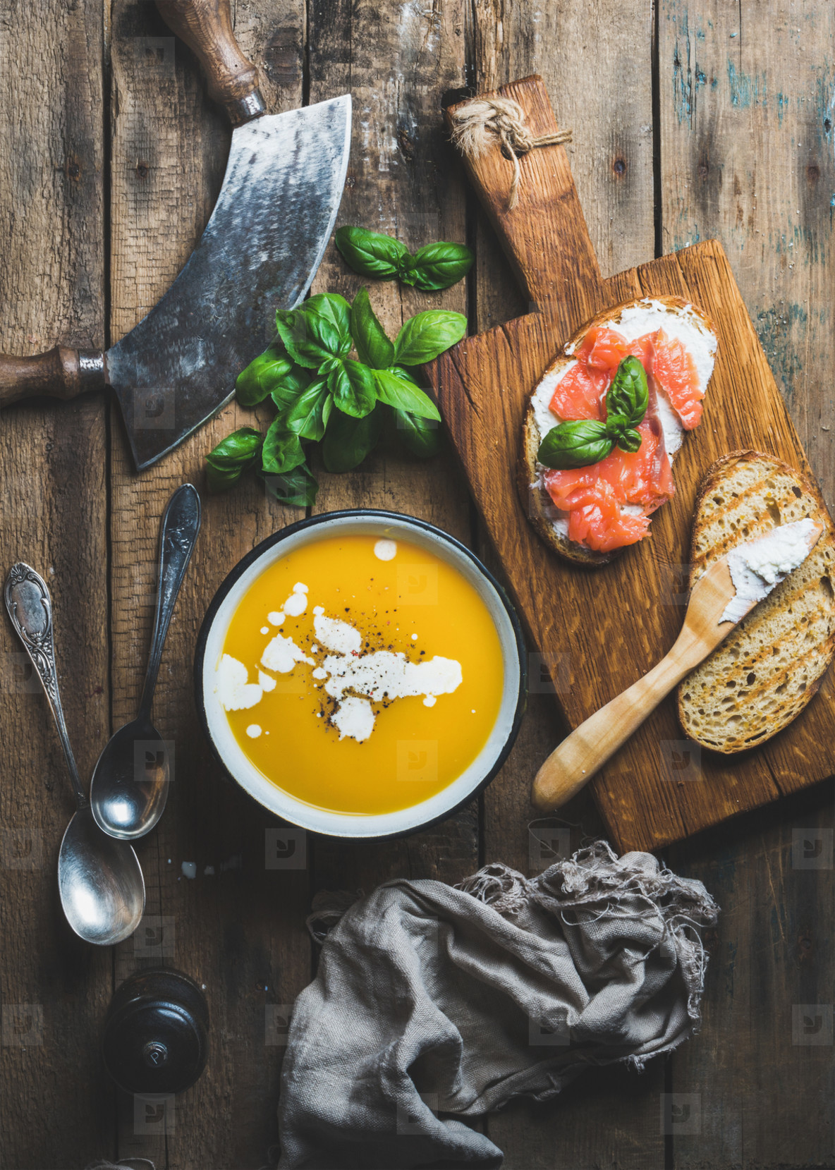 Dinner or lunch with pumpkin cream soup and toasts
