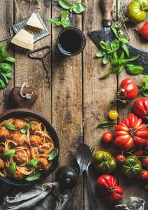 Italian pasta spaghetti with tomato sauce and meatballs