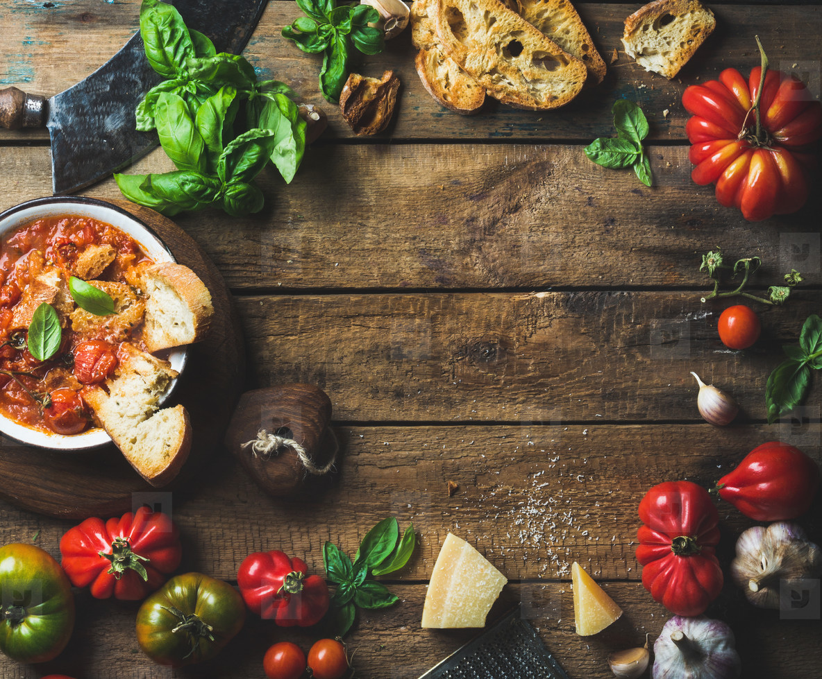 Italian roasted tomato and garlic soup with bread  basil  parmesan
