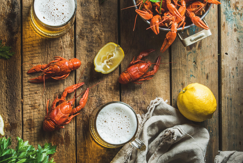 Wheat beer and boiled crayfish with lemon  parsley