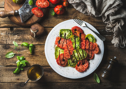 Heairloom tomato salad with olive oil  balsamic vinegar and basil